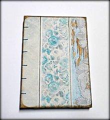 Papiernictvo - Ručne šitý zápisník/denník/notes/diár ,,Modré nežnôstky\
