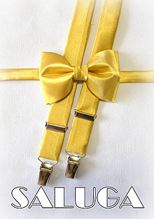Doplnky - Zlatý pánsky motýlik + traky - set - možnosť aj detský - 7452237_