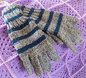 """Rukavice - Pletené dámske prstové rukavice """"AJA- prúžky))) - 7447660_"""