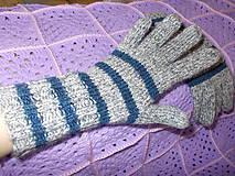 """Rukavice - Pletené dámske prstové rukavice """"AJA- prúžky))) - 7447665_"""