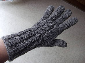 """Rukavice - Pletené dámske prstové rukavice """"AJA (Šedá) - 7447546_"""