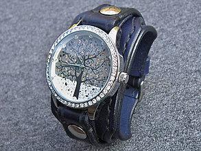 Náramky - Dámske hodinky kožený remienok námornícka modrá - 7449322_