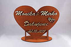 Darčeky pre svadobčanov - Drevene srdiečko ako poďakovanie rodičom 29 - 7449365_