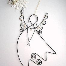 Detské doplnky - anjel letí väčší 22cm  s perličkami - 7456040_