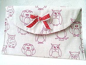Taštičky - BonBon pochette (funny owls/red/beige) - 7457288_