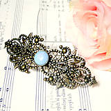- Vintage Filigree Opalite French Hair Clip / Vintage francúzs - 7454779_