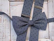 Pánsky motýlik a traky- sivý elegant set