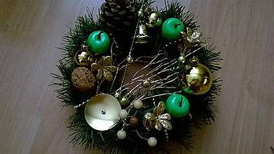Svietidlá a sviečky - ***AKCIA*** Vianočná ikebana jablkovo-zlatá - 7453956_