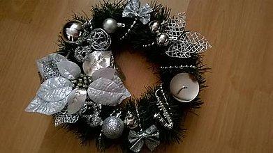 Svietidlá a sviečky - ***AKCIA*** Strieborná vianočná ikebana - 7454096_