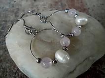 - oceľové náušnice s riečnou perlou a ruženínom - 7455477_