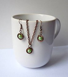 Sady šperkov - Medená sada so zelenou perličkou - 7456349_