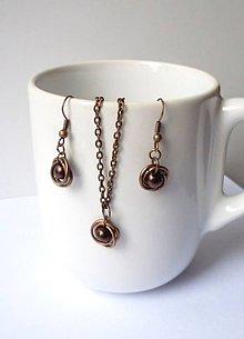 Sady šperkov - Medená sada s hnedou perličkou - 7457410_