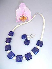 Sady šperkov - lapis a pravé perly náhrdelník náušnice - 7454220_