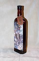 Nádoby - Poľovnícka fľaša Jeleň a laň s visačkou - 7457172_