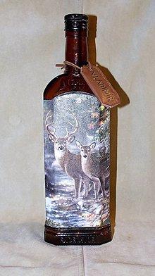 Nádoby - Poľovnícka fľaša Jeleň a laň s visačkou - 7457163_