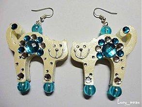 Náušnice - Náušničky mačičky smotanovo-modré :) - 7454347_