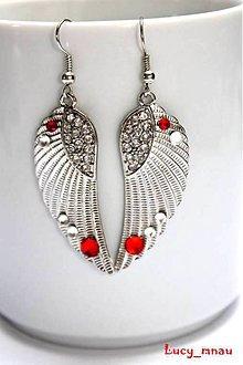 Náušnice - Anjelské krídla strieborno-červené :) - 7455800_