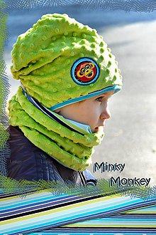 Detské súpravy - Zimný set minky jade - obojstranný s aplikáciou - 7457073_