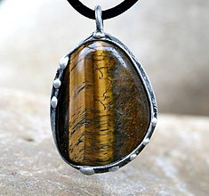 Náhrdelníky - Tigrie oko prívesok/náhrdelník - 7457083_