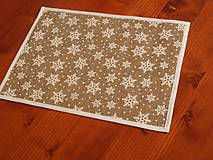 Úžitkový textil - Vianočné jutové prestieranie s vločkami aj červené - 7453456_