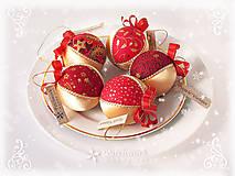 Dekorácie - Vianočné gule patchworkové  - Zlato-červená sada - 7455455_