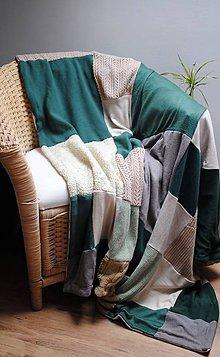Úžitkový textil - Zelenobéžová deka - 7452819_