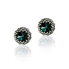 Náušnice - NAPICHOVAČKY SW8 farebné (Emerald - Ag 925) - 7459358_