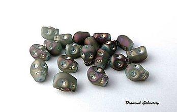 Korálky - Korálka Lebka 10x8 mm - Purpurová AB - 7458183_