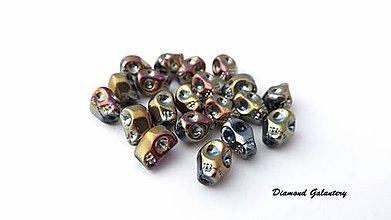 Korálky - Korálka Lebka 10x8 mm - Dúhová zlatá - 7460430_