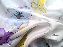 """Šatky - Hodvábna šatka """"pastelové kvety"""" - 7459935_"""