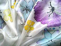 """Šatky - Hodvábna šatka """"pastelové kvety"""" - 7459936_"""