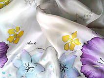 """Šatky - Hodvábna šatka """"pastelové kvety"""" - 7459940_"""