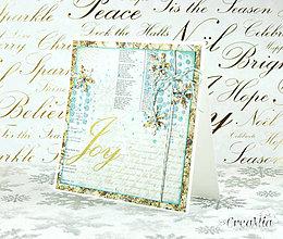 Papiernictvo - Vianočná pohľadnica Joy - zlato-biela s modrou - 7458039_