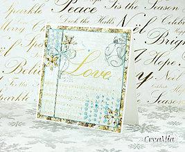 Papiernictvo - Vianočná pohľadnica Love - zlato-biela s modrou - 7458075_
