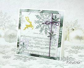 Papiernictvo - Vianočná pohľadnica Jingle Bells - strieborno-biela s fialovou - 7458099_