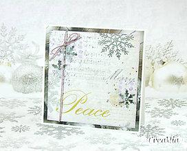Papiernictvo - Vianočná pohľadnica Peace - strieborno-biela s fialovou - 7458110_
