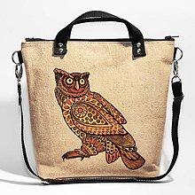 Kabelky - Boho no. 2: Sova - Ručne maľovaná a šitá plátená kabelka. Len jeden kus! - 7459579_