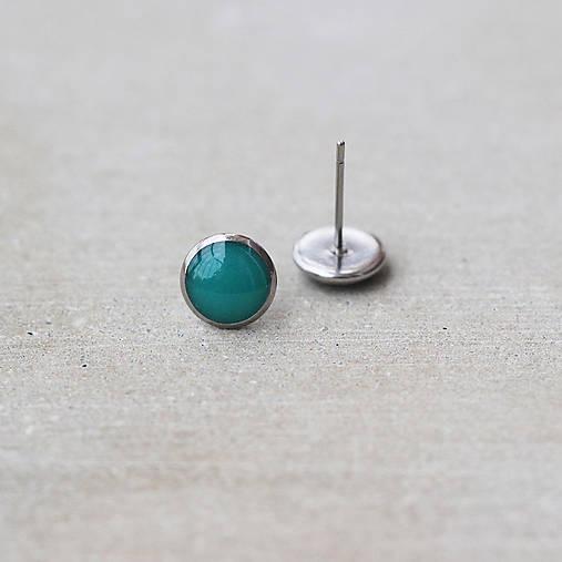 Tyrkysové náušnice okrúhle – chirurgická oceľ (8 mm)