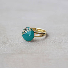 Prstene - Pozlátený prsteň s tyrkysovým očkom (12 mm) - 7460674_