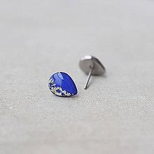 Náušnice - Modré náušnice v tvare kvapky – chirurgická oceľ (9 mm) - 7460891_
