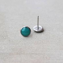 Náušnice - Tyrkysové náušnice okrúhle – chirurgická oceľ (8 mm) - 7461033_