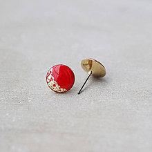 Náušnice - Pozlátené náušnice s červeným očkom (12 mm) - 7461216_
