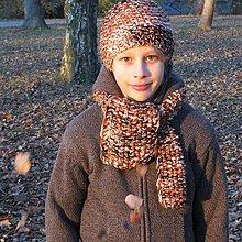 Detské čiapky - chlapčiskový hnedooranž - 7457965_