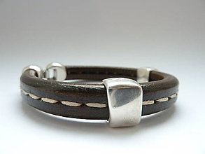 Šperky - náramek ... štepovaná klasika v čokoládě II - 7459389_