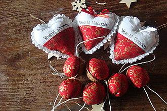 Dekorácie - Vianočná sada,srdiečka a oriešky - 7460648_