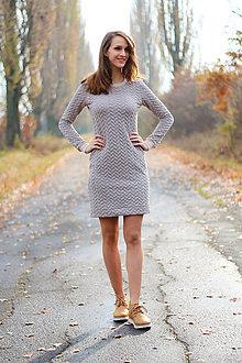 Šaty - Krémovo šedé prešívané šaty - 7464676_