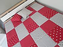 - prehoz na posteľ s moderným vzorom šedo - červená  - 7464256_