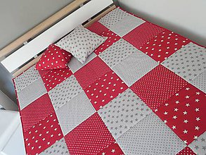 Úžitkový textil - prehoz na posteľ s moderným vzorom šedo - červená - 7464256_
