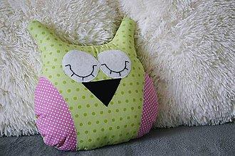 Úžitkový textil - Mojkacia sovička zeleno-ružová - 7463362_
