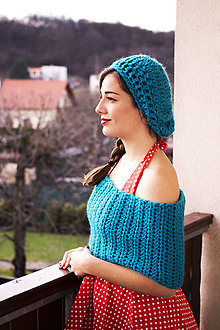 Šály - Nákrčník s baretkou BEANIE/bledotyrkysovej farby - 7467381_